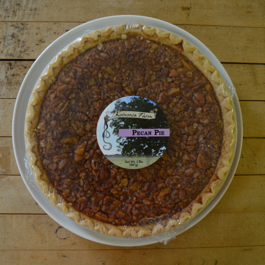 Koinonia Farm Handmade Full Pecan Pie with packaging