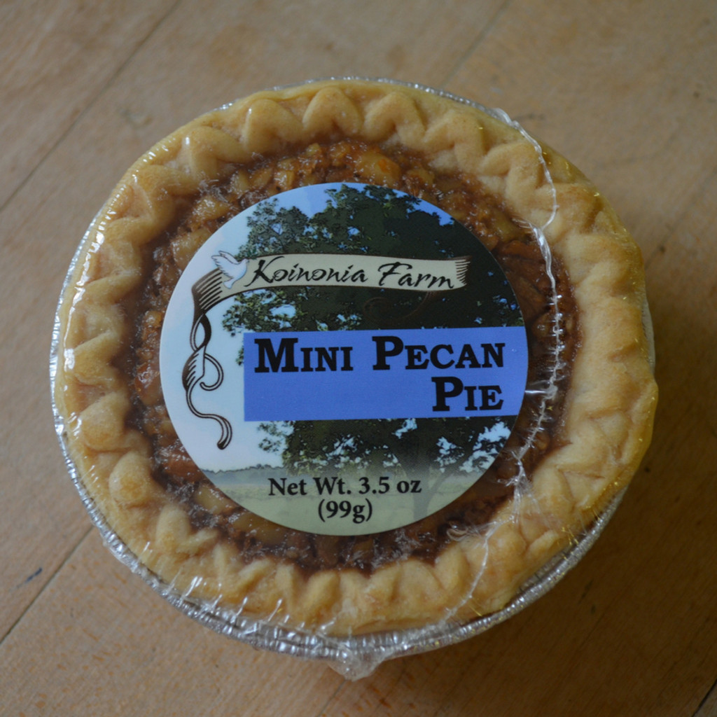 Koinonia Farm Handmade Mini Pecan Pie with packaging