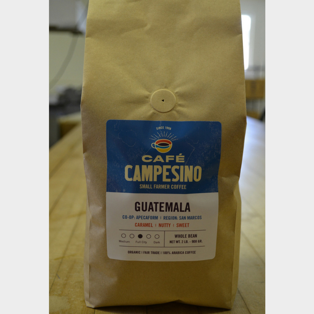 Guatemala Full City Roast Fair Trade Coffee by Café Campesino 2 lb bag whole bean