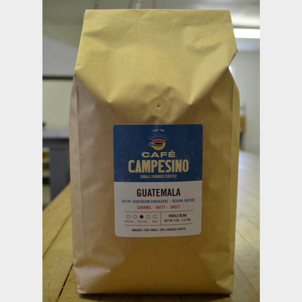 Guatemala Full City Roast Fair Trade Coffee by Café Campesino 5 lb bag whole bean