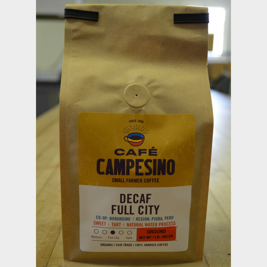 Decaf House Blend Full City Roast Fair Trade Coffee 1 lb bag ground