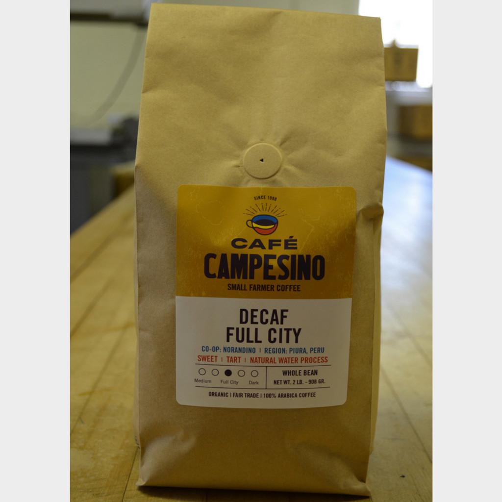Decaf House Blend Full City Roast Fair Trade Coffee 2 lb bag whole bean