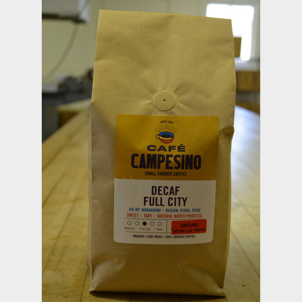 Decaf House Blend Full City Roast Fair Trade Coffee 2 lb bag ground