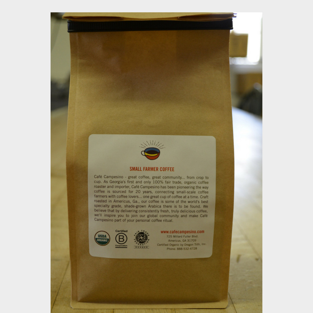 Koinonia Farm Blend Fair Trade Coffee by Cafe Campesino back of bag