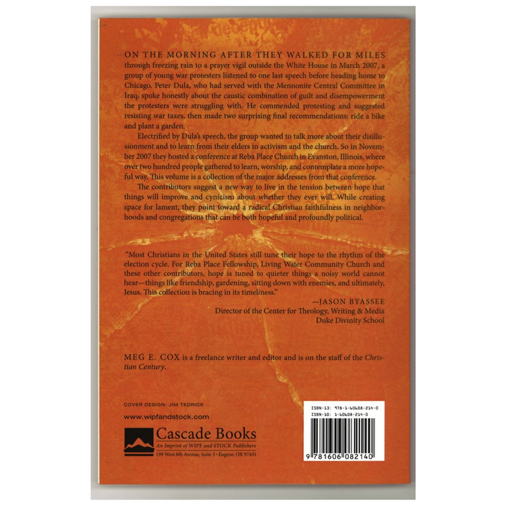 Cynicism and Hope edited by Meg Cox Paperback Book Back Cover