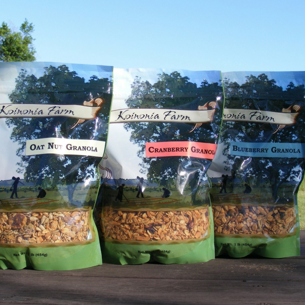 Koinonia Granola Options- Oat Nut, Cranberry, and Blueberry 1 lb. bags