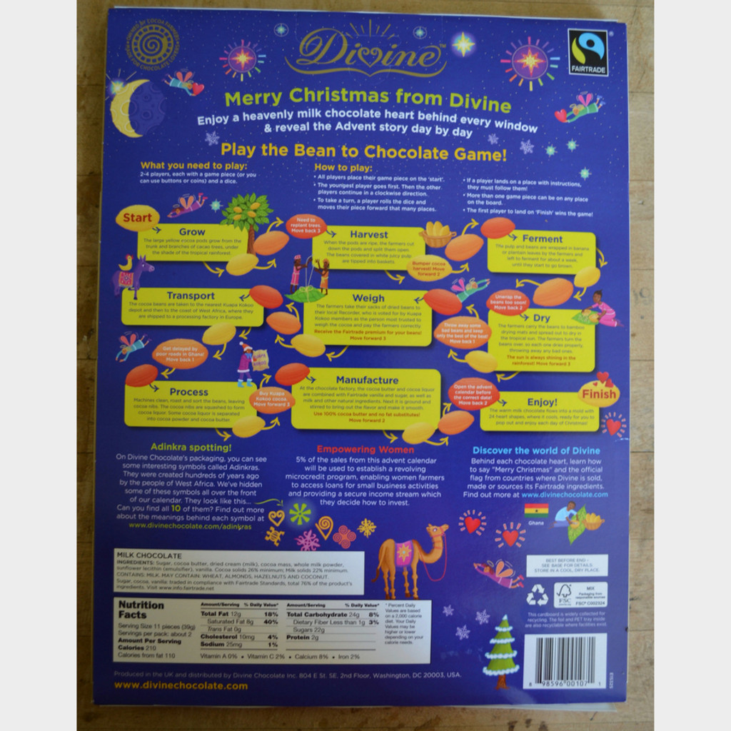 Divine Fair Trade Chocolate Advent Calendar Back