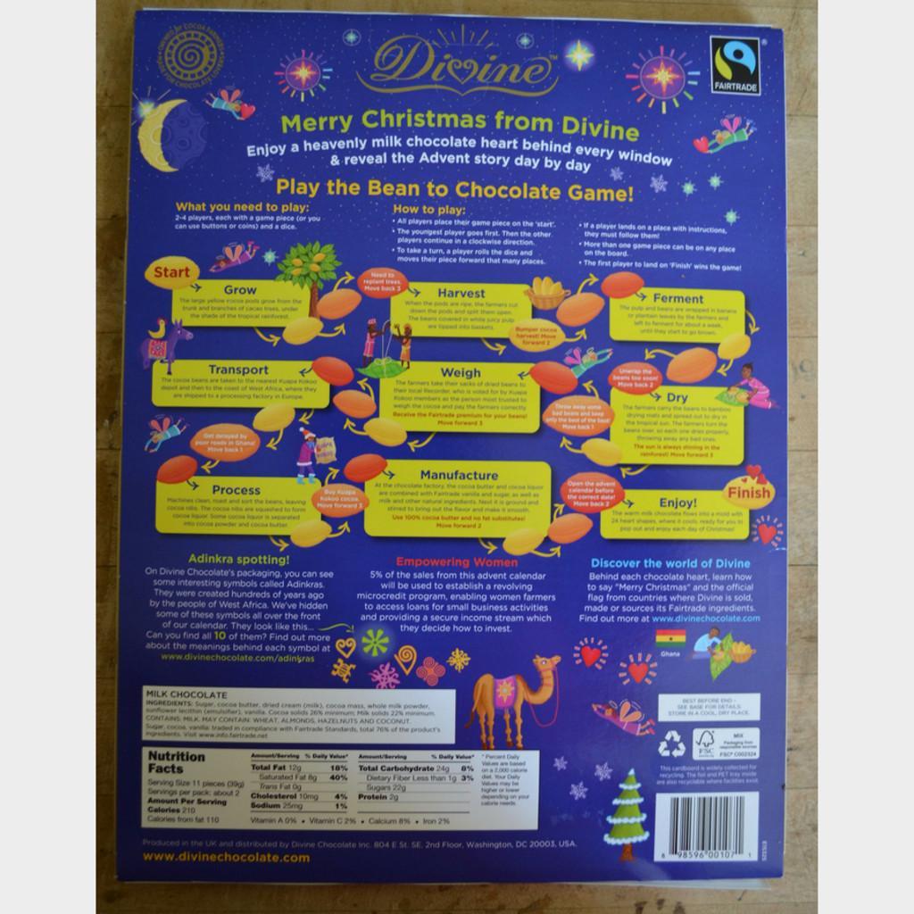 Divine Fair Trade Chocolate Advent Calendar Back