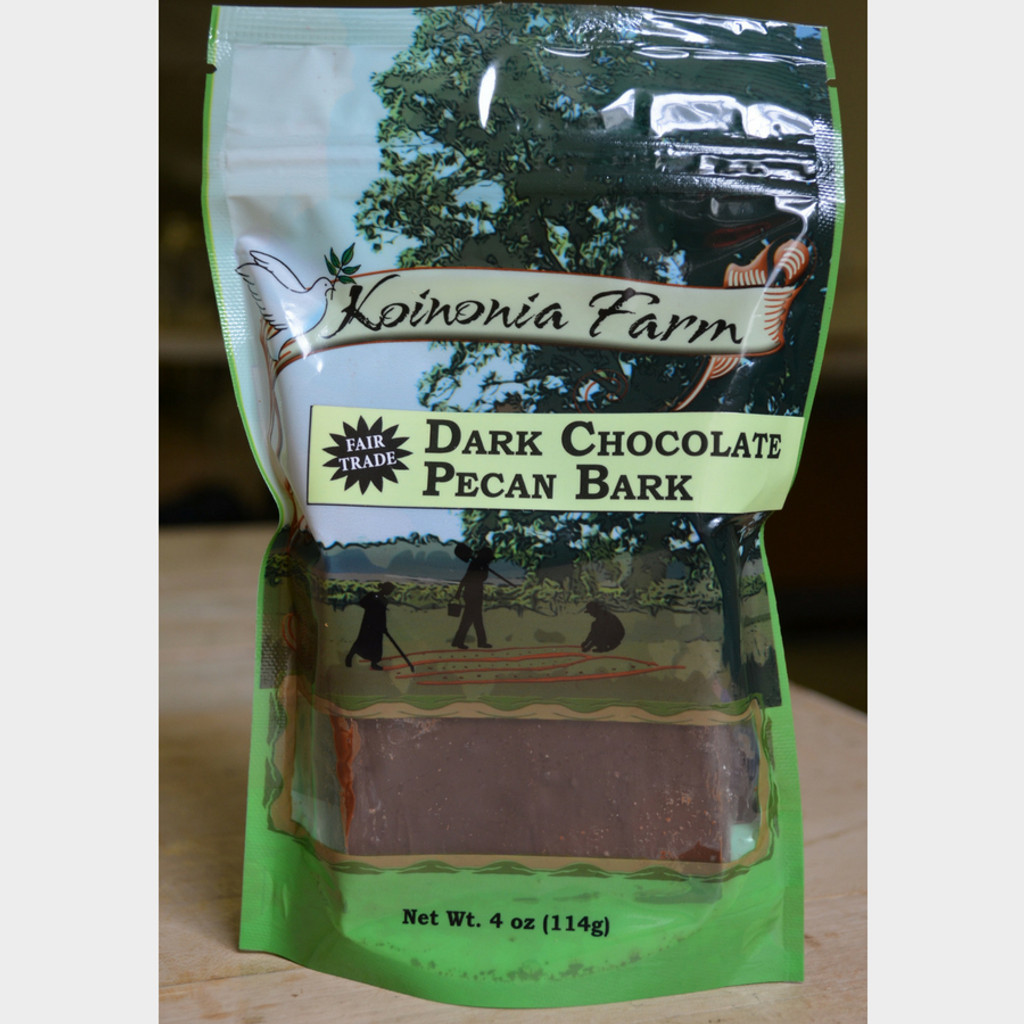 Dark Chocolate Pecan Bark 4 oz. Bag Front