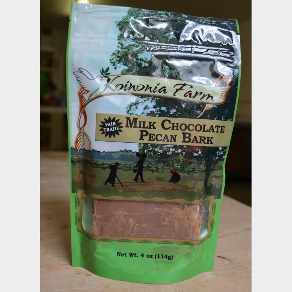 Fair Trade Milk Chocolate Pecan Bark 4 oz Bag Front