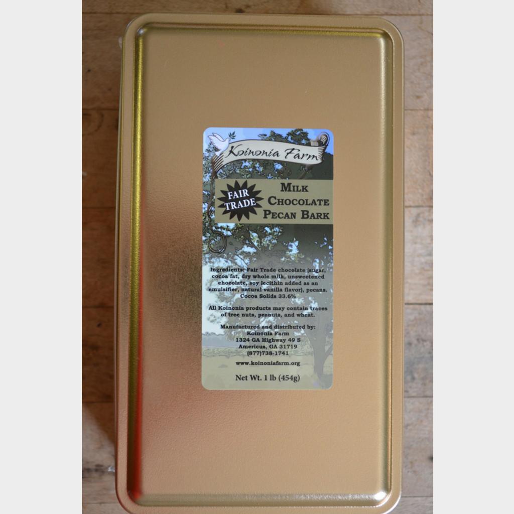Fair Trade Milk Chocolate Pecan Bark 1 lb tin