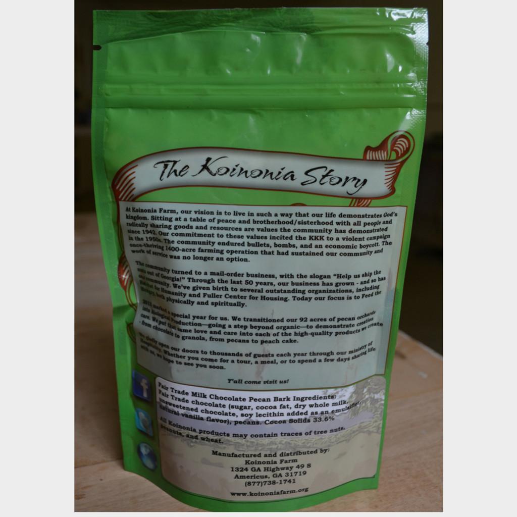 Fair Trade Milk Chocolate Pecan Bark 4 oz Bag Back