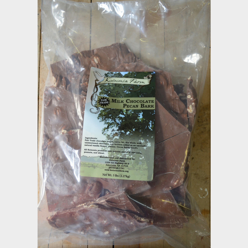 Fair Trade Milk Chocolate Pecan Bark 5 lb bag