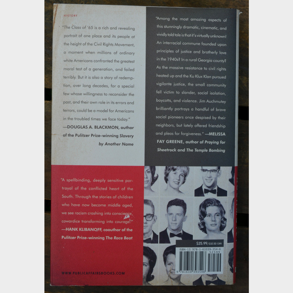 The Class of '65 by Jim Auchmutey Hardback Back Cover