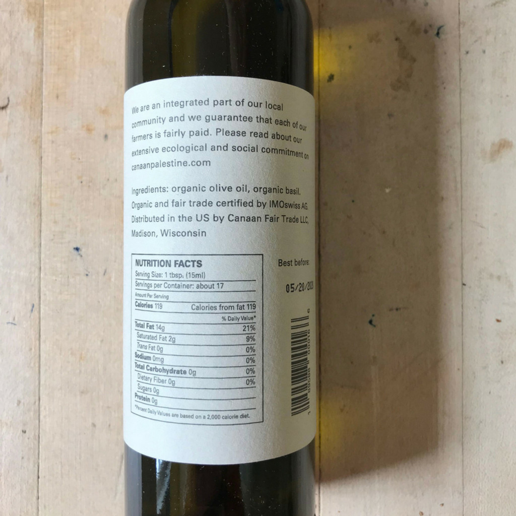 Basil Infused Olive Oil 8.4 oz Glass Bottle Back Label