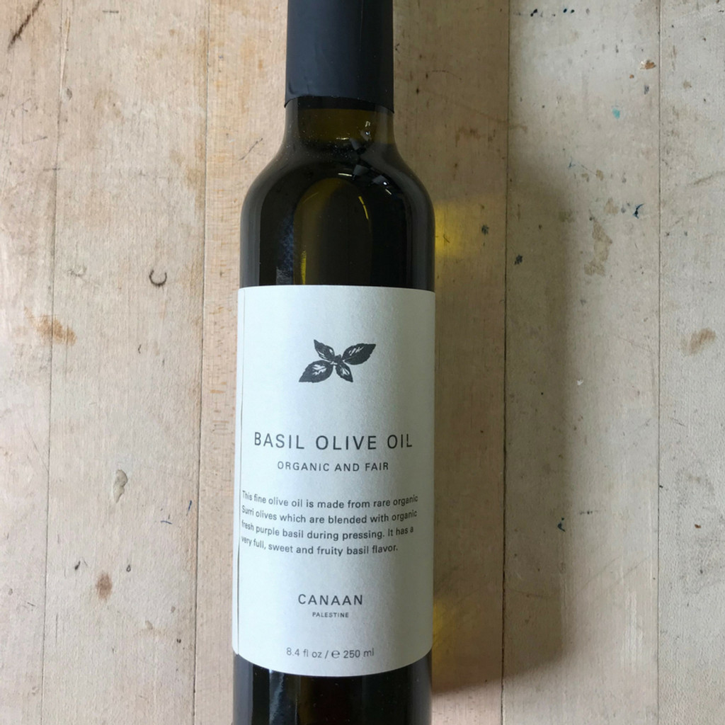 Basil Infused Olive Oil 8.4 oz Glass Bottle Front Label