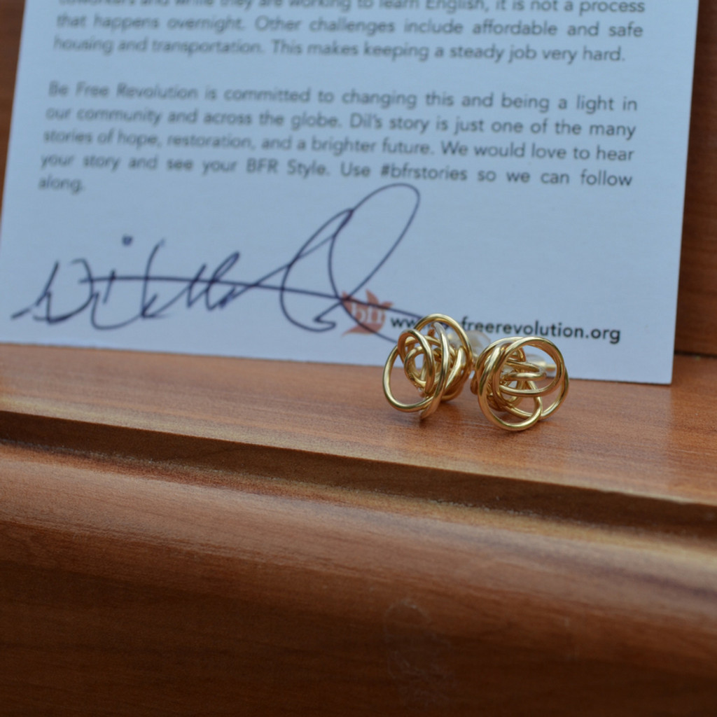 Ekata Designs Handmade Gold Stud Earrings made by Dil