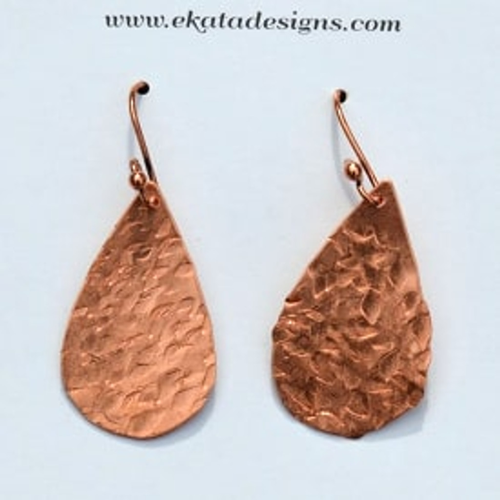 Copper Textured Teardrop Earrings Thumbnail