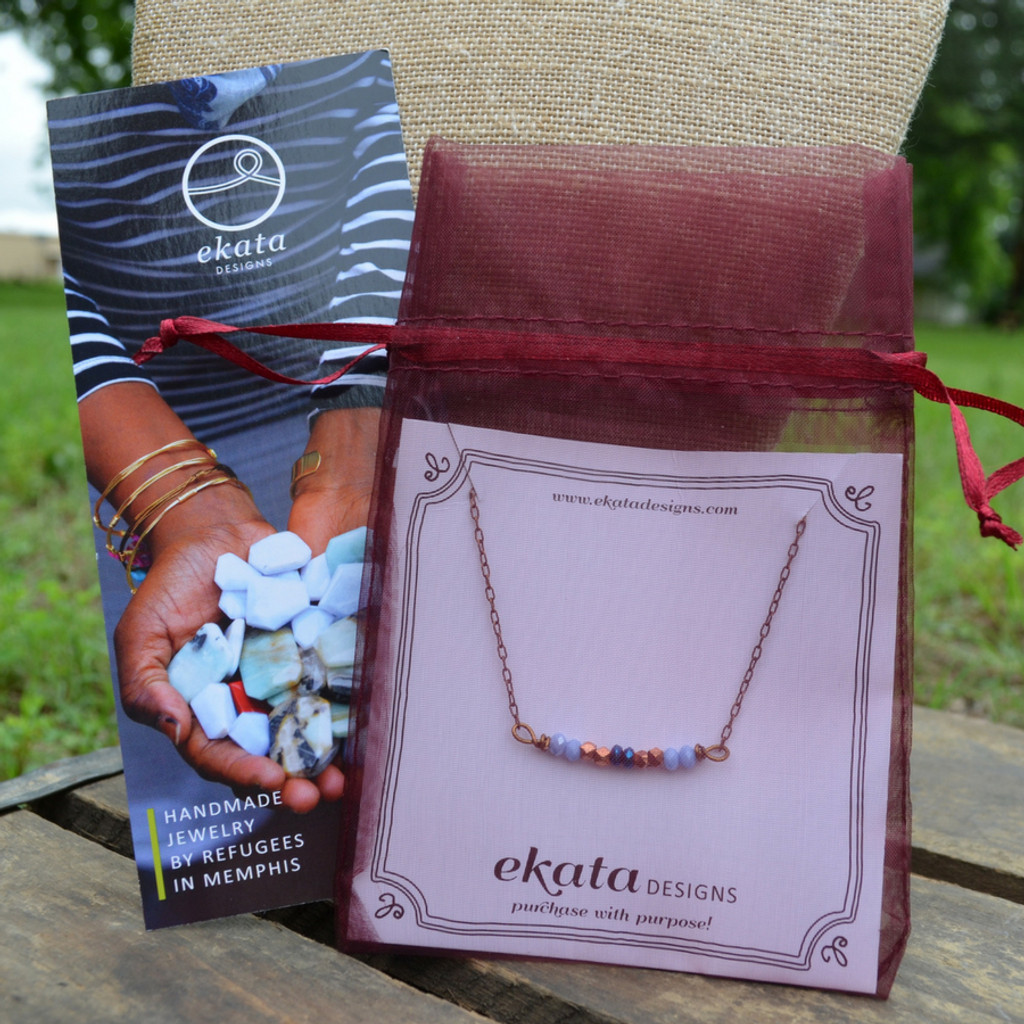 Ekata Designs Handmade Ran Bar Necklace with Packaging