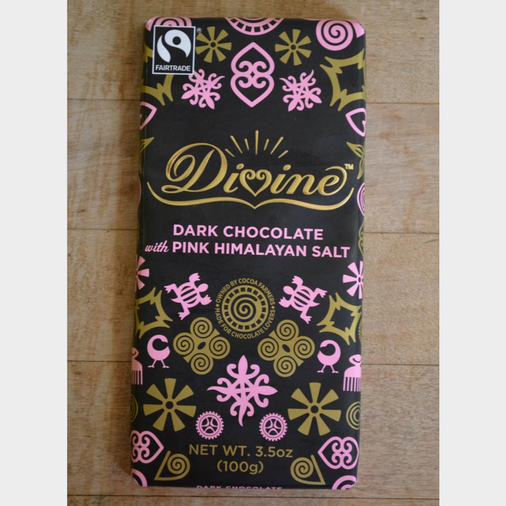 Divine Fair Trade Dark Chocolate with Pink Himalayan Salt Front