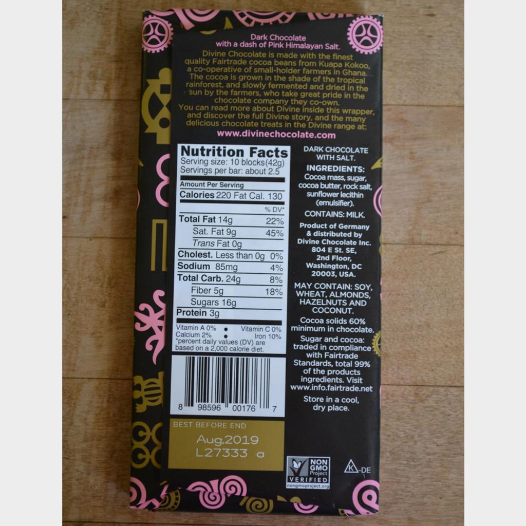 Divine Fair Trade Dark Chocolate with Pink Himalayan Salt Back