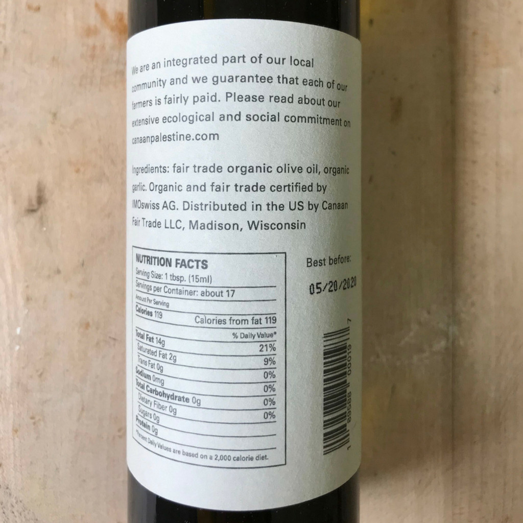 Garlic Olive Oil Back Label