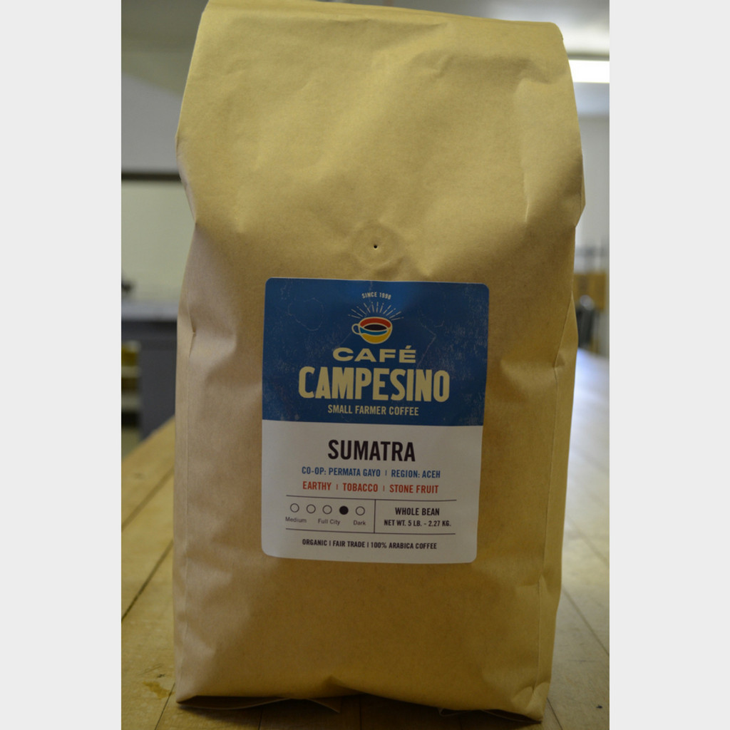 Sumatra Viennese Roast Coffee 5 lb Bag Whole Bean