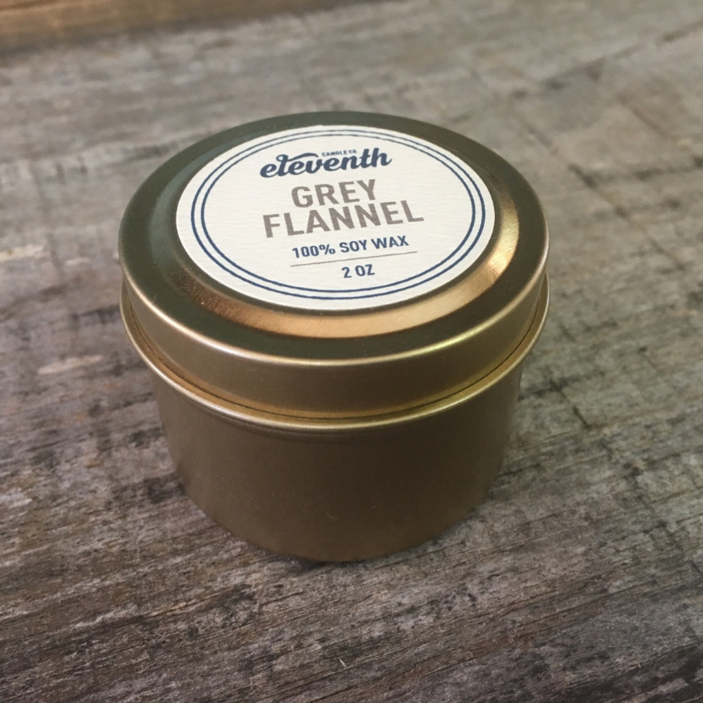 Eleventh Candle Co. Grey Flannel 2 oz Candle Side
