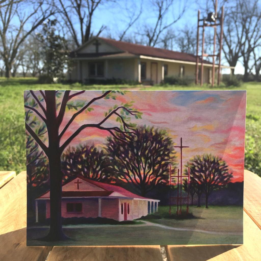 Koinonia Farm Chapel Notecard standing up outside