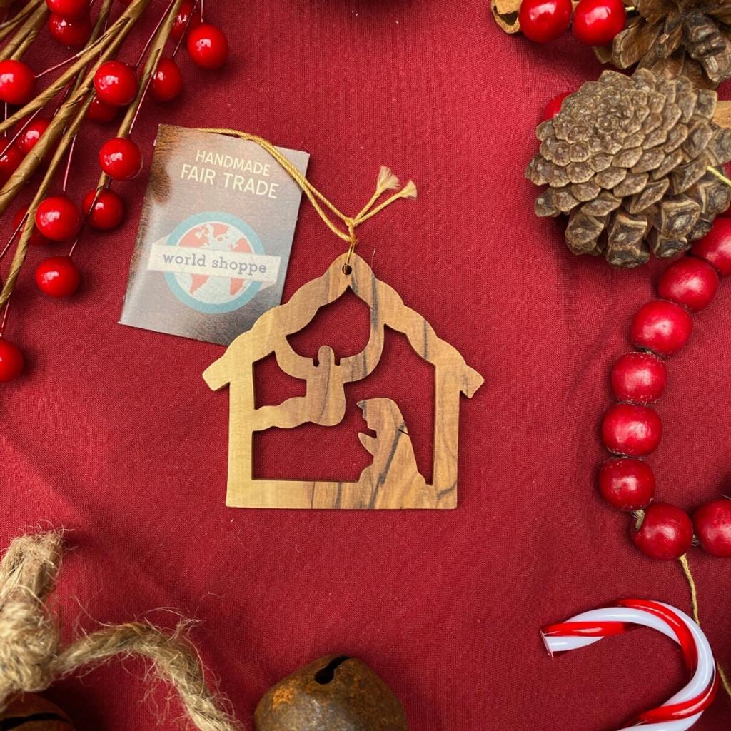 Fair Trade Wooden Nativity Christmas Ornament