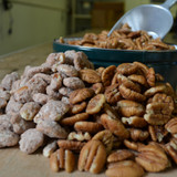 Pecan Sampler Tin with Biologically Grown Pecan Halves, Hickory Smoked Pecans, and Cinnamon Spiced Pecans Close-Up