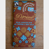 Divine Fair Trade Milk Chocolate with Toffee and Sea Salt Front