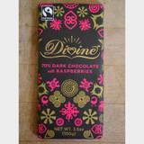 Divine Fair Trade Dark Chocolate with Raspberries Front