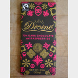 Divine Fair Trade Dark Chocolate with Raspberries Front