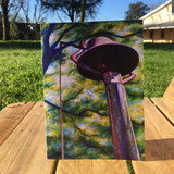 Koinonia Farm Bell Notecard standing up outside