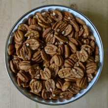 Koinonia Farm Shelled Pecan Halves 1 lb 8 oz Tin Open