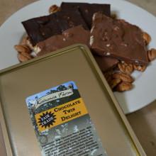 Fair Trade Dark and Milk Chocolate Pecan Bark Twin Delight Tin Lid