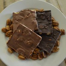 Fair Trade Dark and Milk Chocolate Pecan Bark Closer