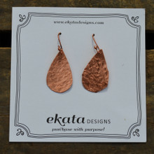 Copper Textured Teardrop Earrings
