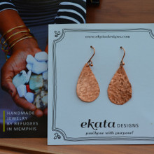 Copper Textured Teardrop Earrings with card