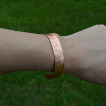 Hammered Cuff Bracelet on model