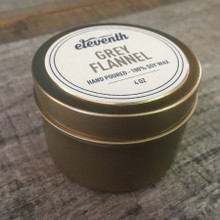 Eleventh Candle Co. Grey Flannel 4 oz Candle Side