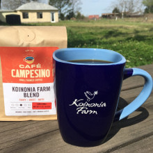 Koinonia Farm Mug Front with Koinonia Fair Trade Coffee