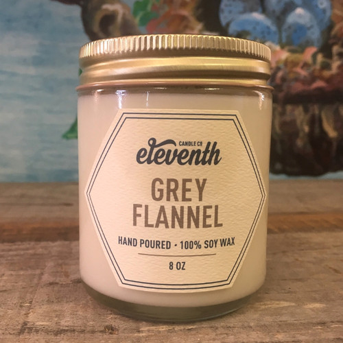 Eleventh Candle Co. Grey Flannel 8 oz Candle Side