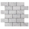 Italian White Carrera Marble Bianco Carrara 2x4 Mosaic Tile Honed