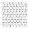 """Dolomiti White Marble Italian Bianco Dolomite 1"""" Hexagon Mosaic Tile Polished"""