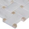 Italian White Carrera Marble Bianco Carrara Basketweave Mosaic Tile with Crema Marfil Dots Polished