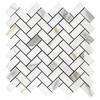 "Calacatta Gold Italian Marble 1"" x 2"" Herringbone Mosaic Tile Honed"