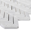 Italian Carrara White Marble Mini Chevron Mosaic Tile Polished