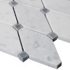 Carrara White Italian Marble Long Octagon Rhomboid Mosaic Tile with Bardiglio Gray Honed